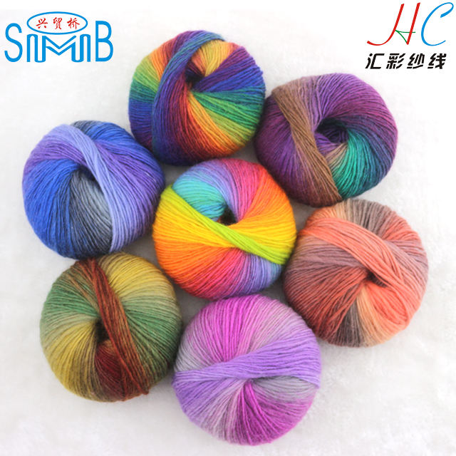 suzhou huicai wholesale top Lion brand fashionable popular roving wool yarn in pattern dyeing for knitting
