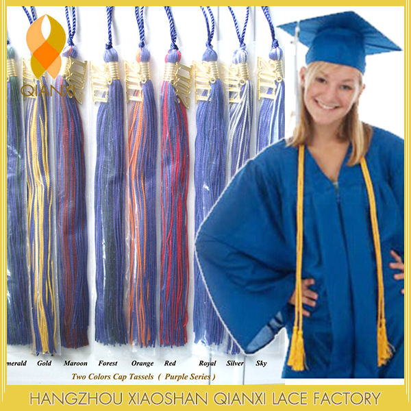 """Graduation Tassel 9/""""  SILVER CHARM 2 color for Cap /& Gown High School College"""