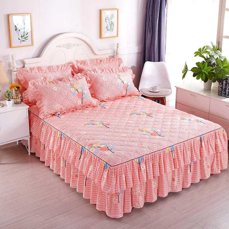Z215 Bed Cover Skirt Floral Protective bed Cover Quilted Thickened bedspread 120*200cm Skirt Bed Cover