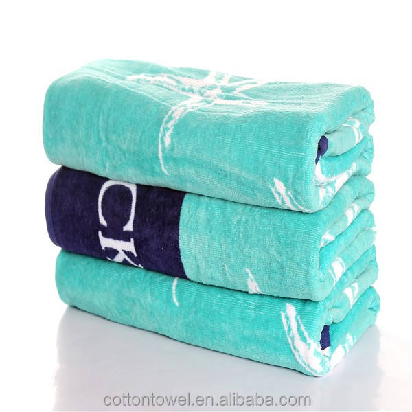 China towel manufacturer Full Color Reactive Printing logo 100% Cotton large thick Beach Towels