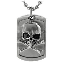 hot sale Yichang Co. Men's Stainless Steel Skull and Crossbones Tag Pendant Necklace