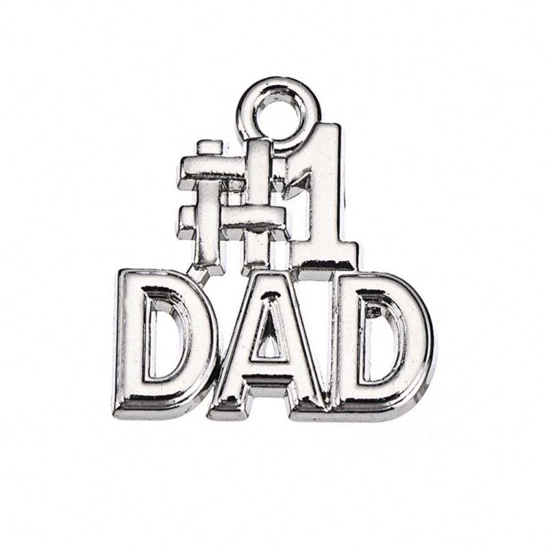 Newest Jewelry Zinc Alloy Metal Silver Plated Number 1 Dad Charms As Special Gift For Father's Day