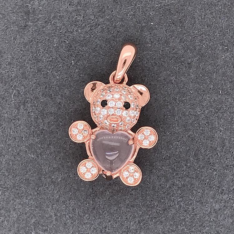 Graphic Customization Cz Bear Silver Pendant Mama Rose Gold Wholesale Diamond Heart Stone Necklace