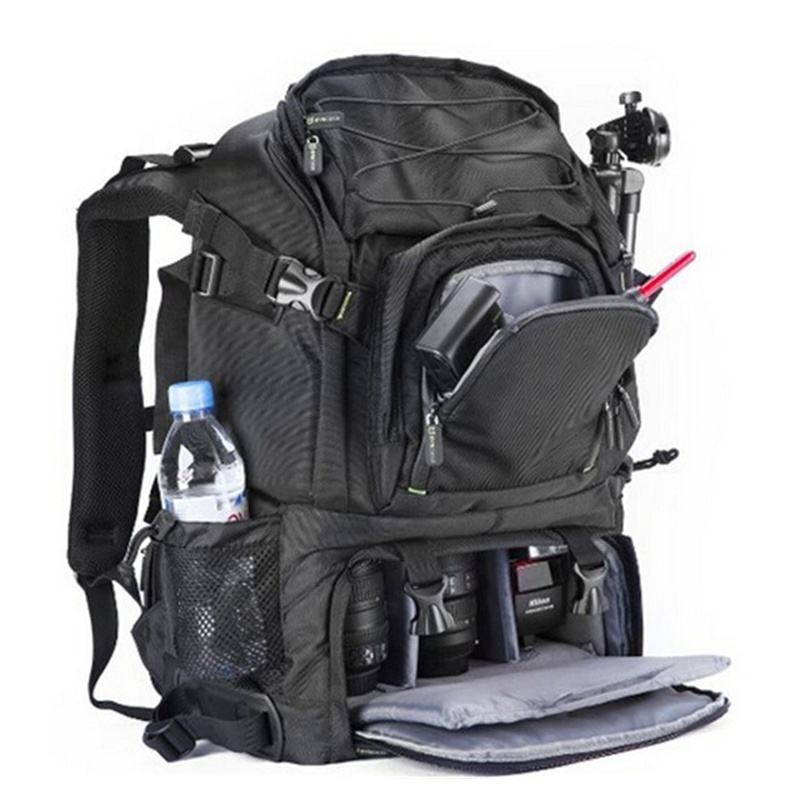 GEAR Digital SLR Camera Backpack with Laptop Compartment Featuring Padded Custom Dividers, Tripod Holder, Rain Cover