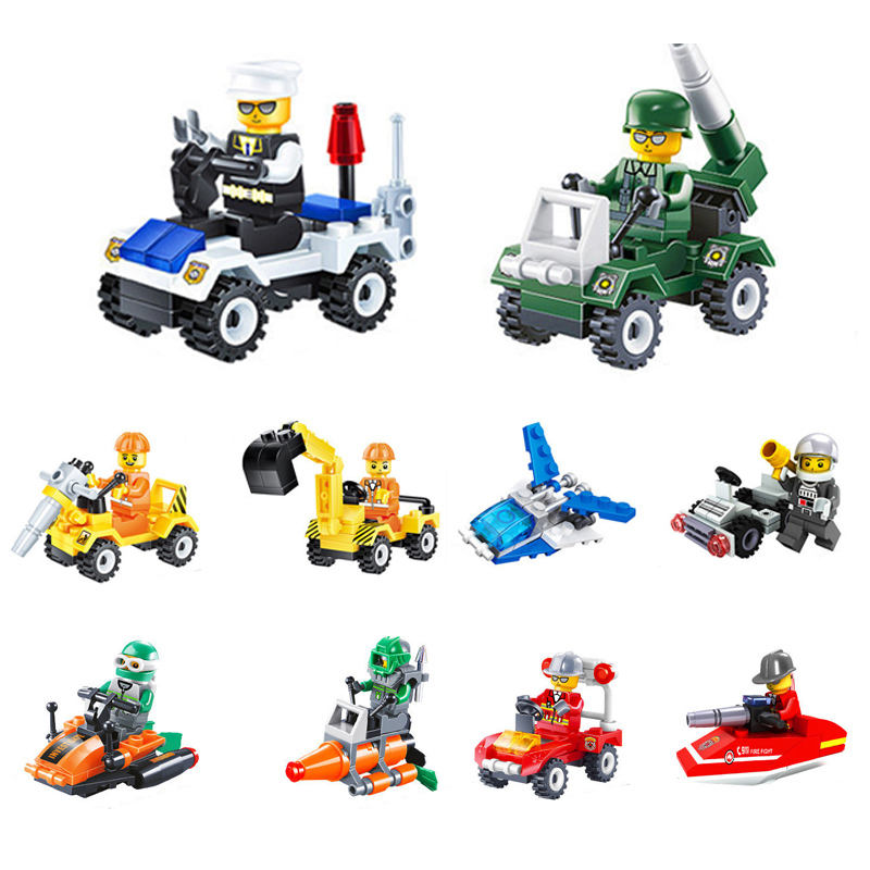 4pcs for 1 set Types mini transport blocks car compatible Solider Police toys building bricks