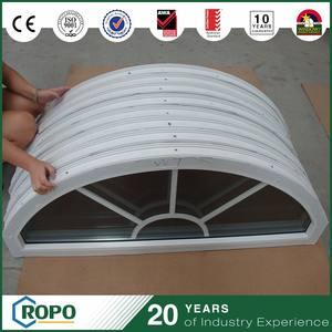 Blanco color de perfiles de PVC ventanas de arco, ventanas de doble acristalamiento con parrilla