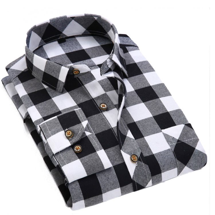 Großhandel Stretch Plaid Flanell Mode männer Custom Shirt