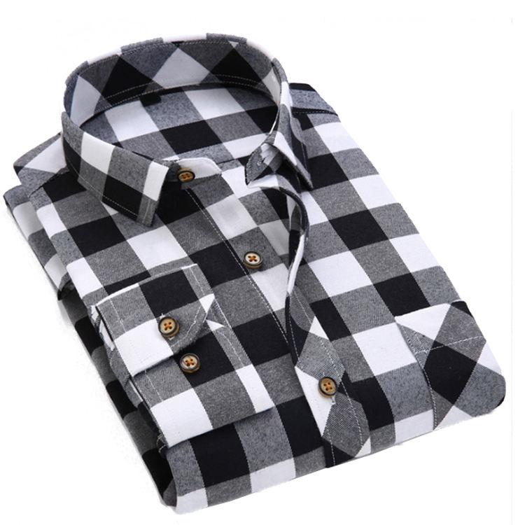Wholesale Stretch Plaid Flannel Fashion Men's Custom Shirt