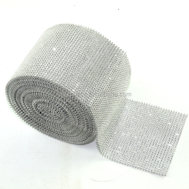 12cm width 24 rows silver ribbon strass crystal diamante tape for decorating
