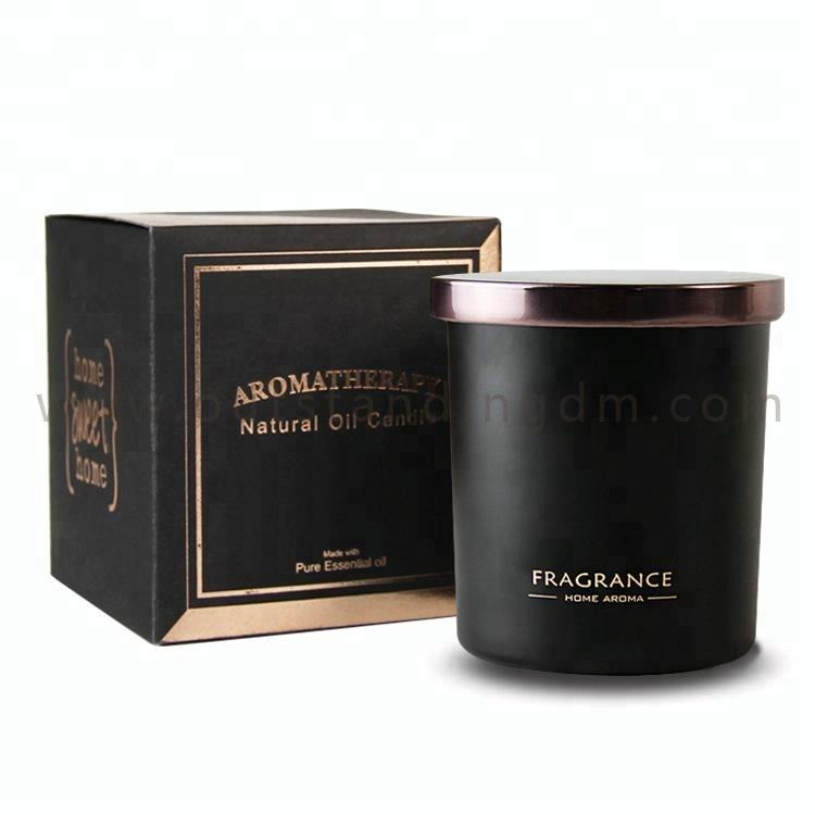 2019 Classical Black Candle Jar With Box With Gold Printing Candle Jar With Logo And Lids