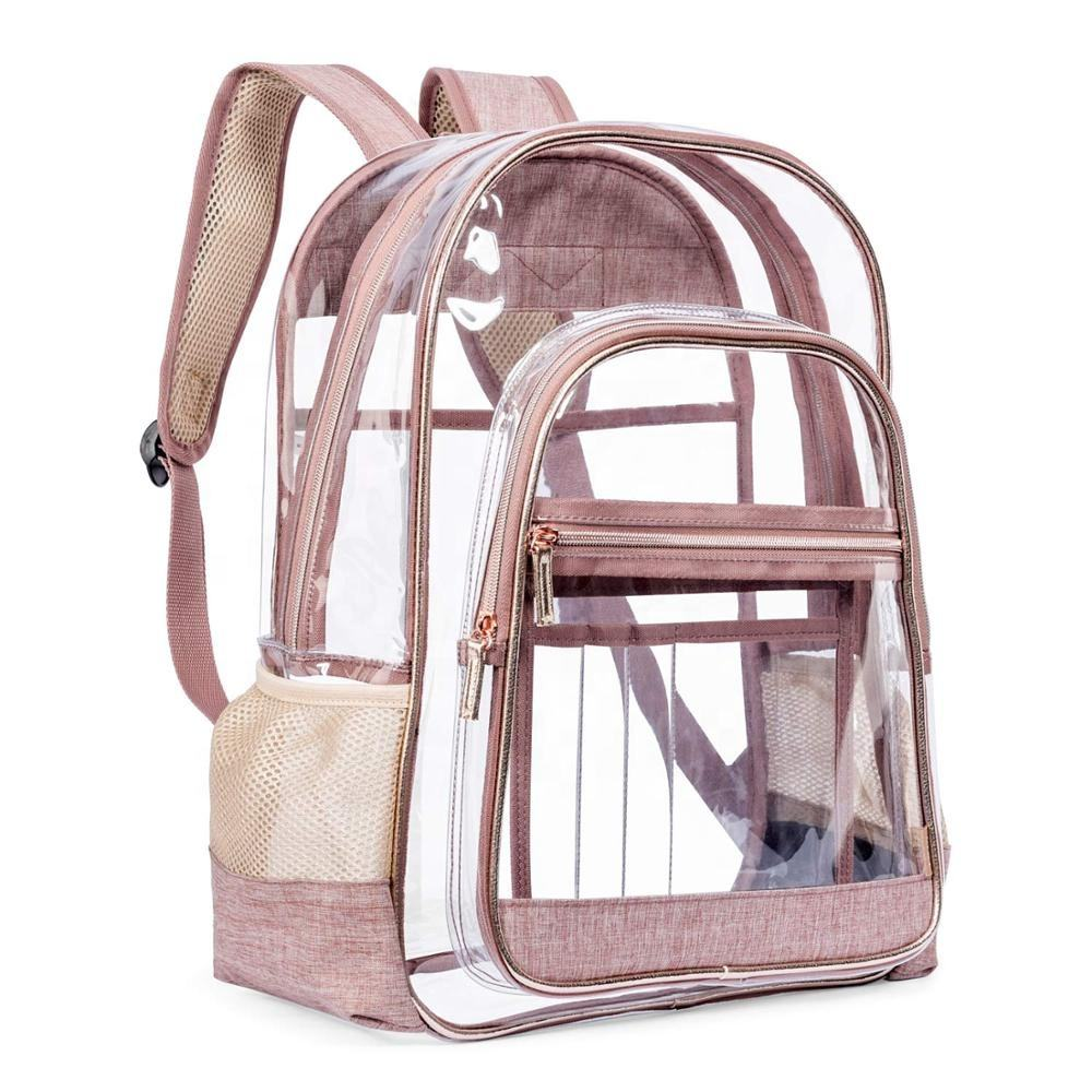 Lokass 15.6 inches see through clear backpack PVC transparent backpack school bag for high school