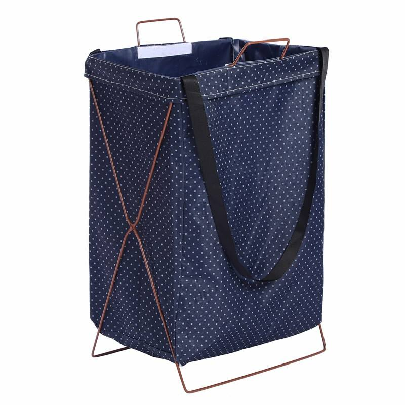 High quality Dirty Clothes laundry basket metal hamper basket Dual-use Tote Bag