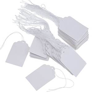 Wholesale white marking price tags with hanging string clothing tag