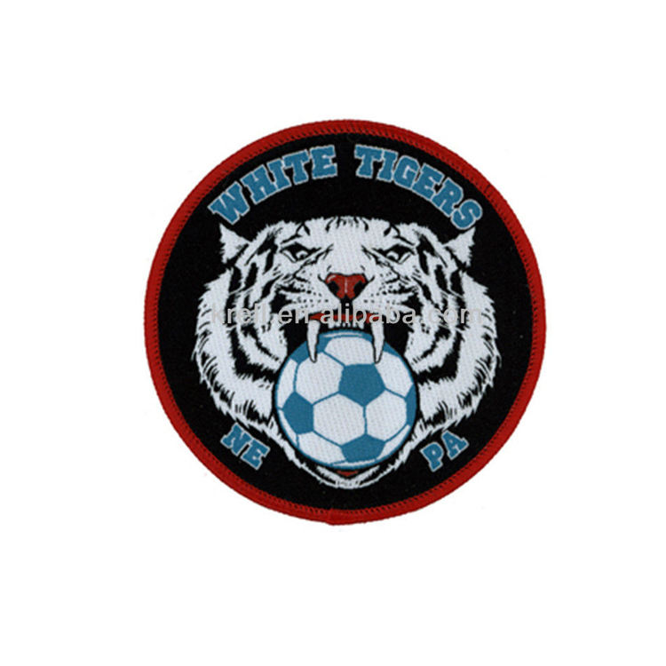 Custom Hot Sale White Tigers Soccer Football Embroidery Patch