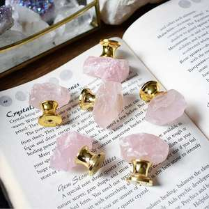 ROSE QUARTZ Stone Drawer Knobs - Rough Natural Free-Form Stones - Light Pink Cabinet Knobs