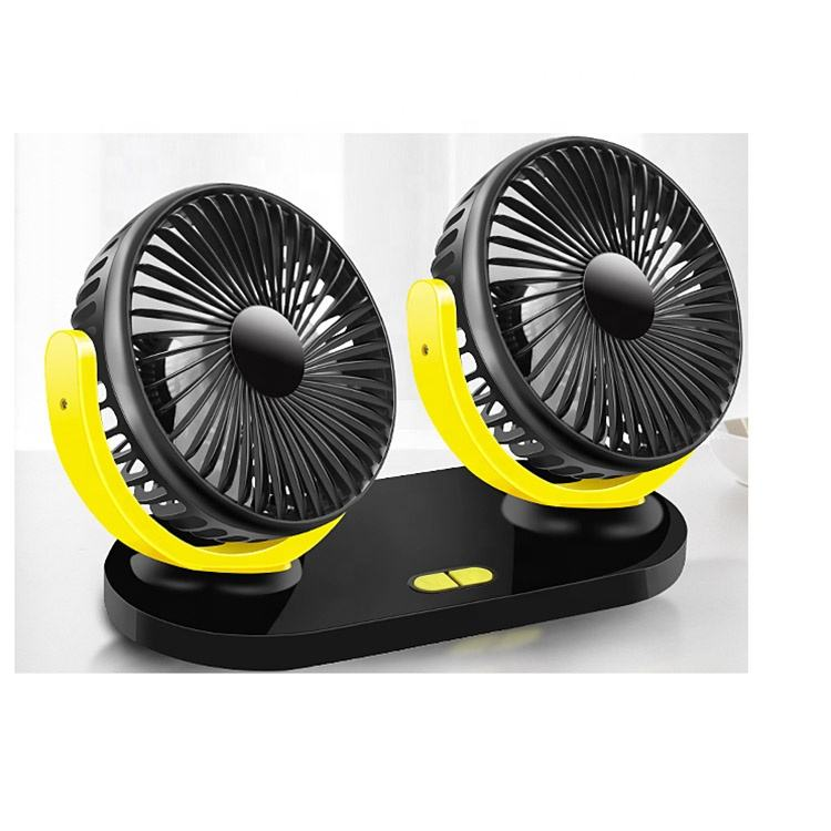 Double Head USB Car Dual Interior ABS Fan Cooler 12V for car 24V for truck universal