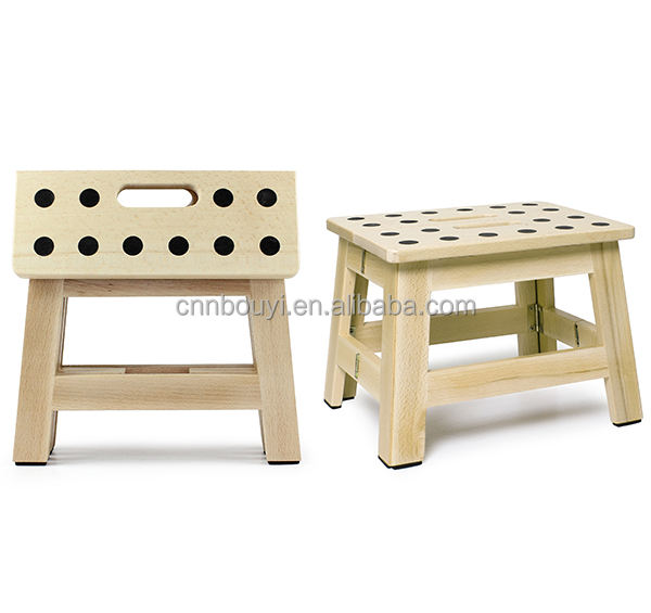 factory price 9 inches height wooden folding step stool
