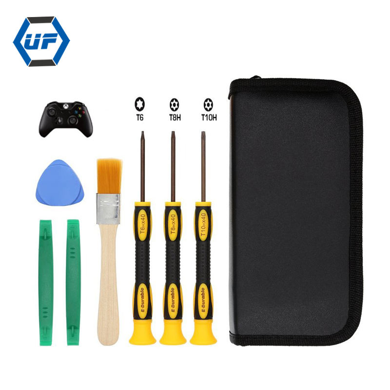 ED-85062 7 IN 1 Game Repair Kit Safe Prying Tool Cleaning Brush T8 T6 T10 Screwdriver Set for Xbox 360 Controller and PS3 PS4