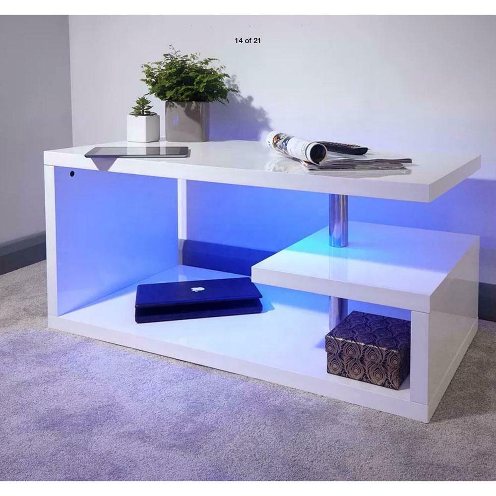 SG-LL42 Eco-friendly wooden white high gloss coffee table with LED lights