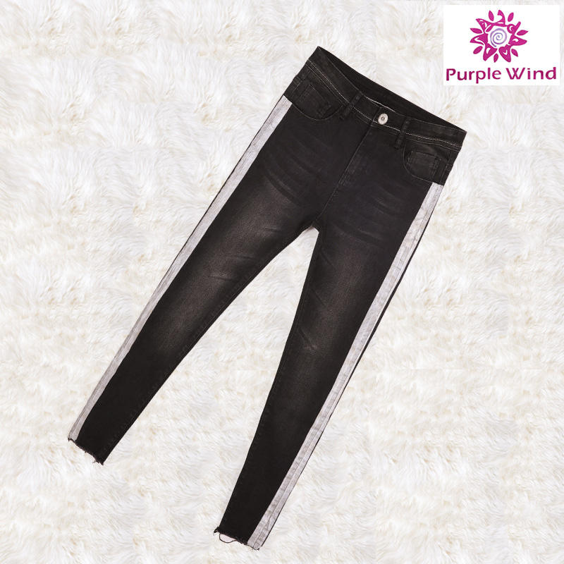 Смешанный цвет круто узкие джинсы женские черные с необработанными краями 2017