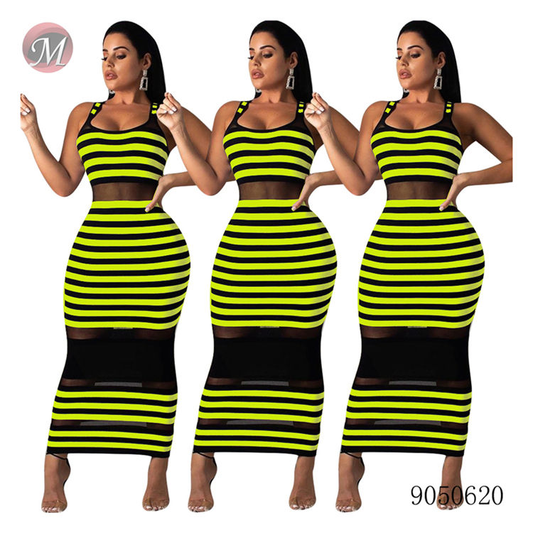 9050620 queenmoen women ladies fashion dresses stripe long maxi sleeveless casual dress