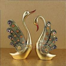resin crafts modern sculpture for home decor wedding swan figurine