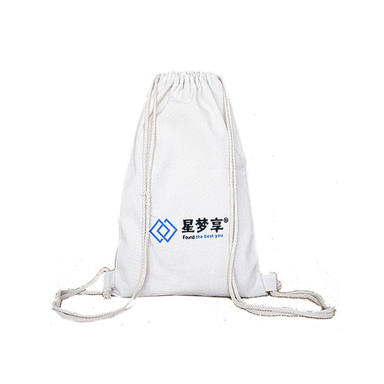 Bespoke canvas double drawstring belt mouth backpack bag