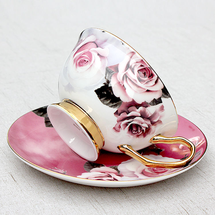 Wholesale rose decal printing bone tea set espresso cup porcelain coffee cups and saucers gift set