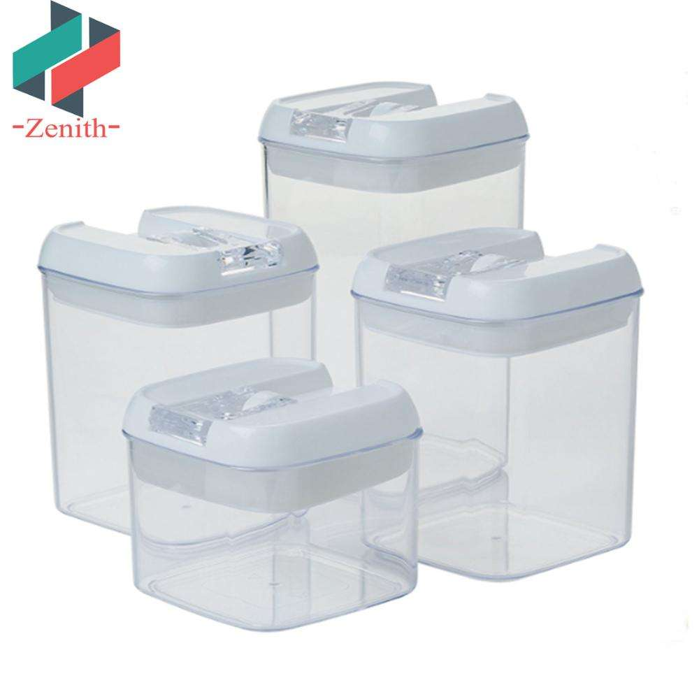 ZNK00025 FDA Stackable 4pcs Cereal Coffee Tea Sugar Flour Square Plastic Vacuum Airtight Food Storage Canister Sets with lid