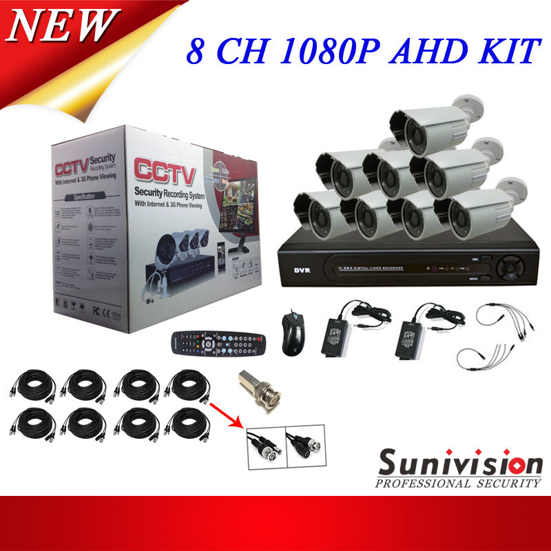 AHD HD 1080P 2 MP Sistem Pemantauan Rumah 20M Night Vision 3.6 Mm Lensa AHD Kamera CCTV Tahan Air kit HD SDI Kamera dengan DVR