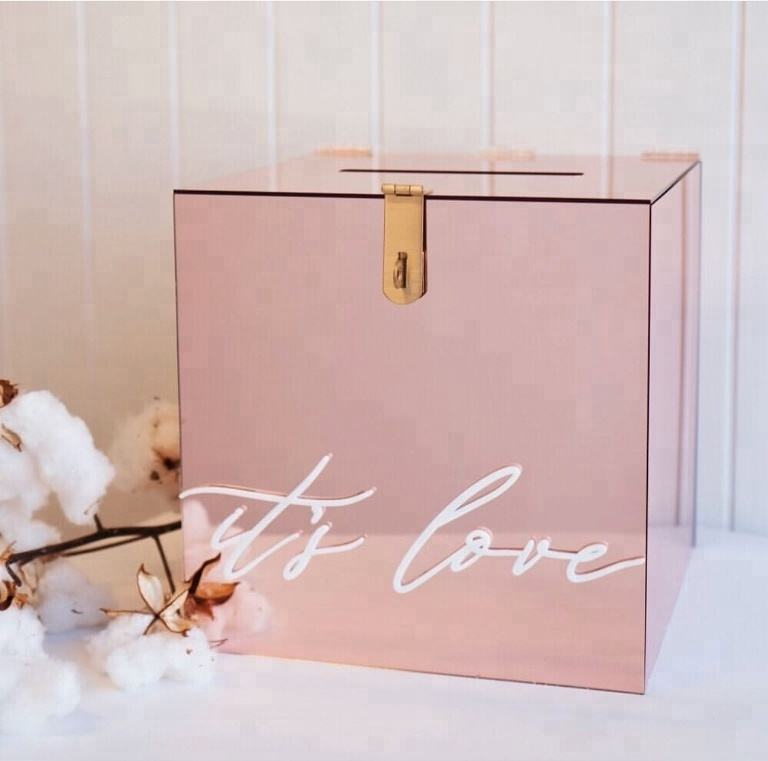 Hot Sale Customized Size rose gold Acrylic Charity Donation Box Wedding Wishing Well box