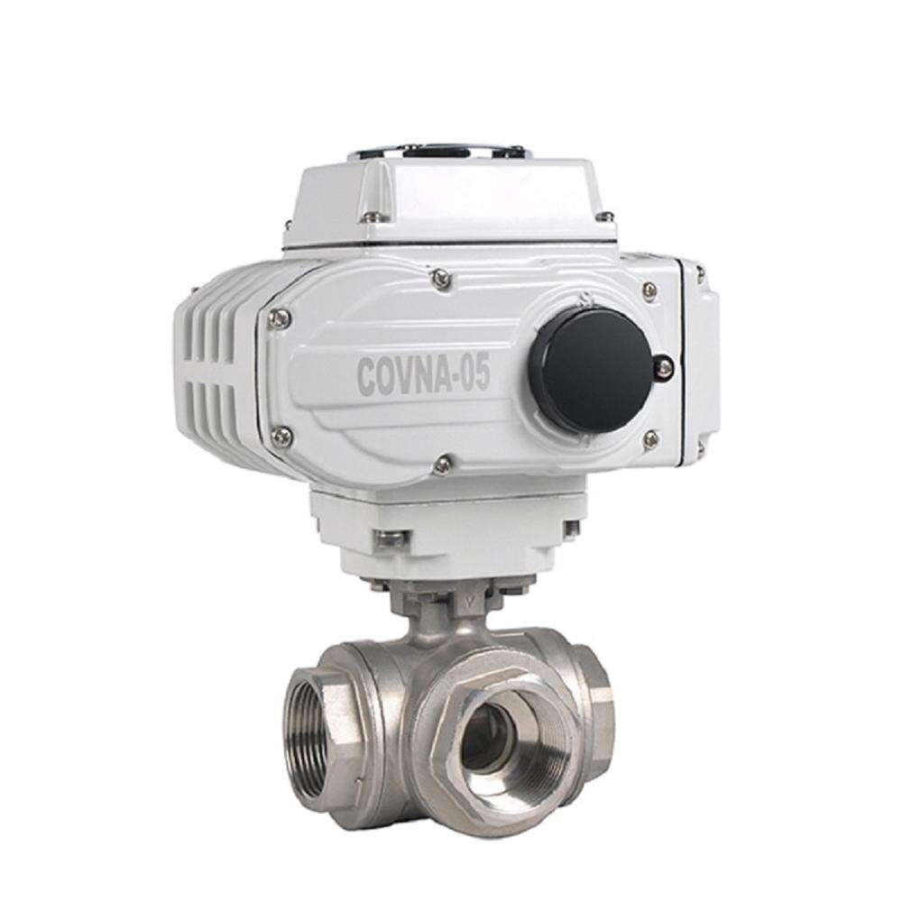 Covna DN15 1/2 Inch CF8M Stainless Steel 1000WOG 3Way L Port Motorized Ball Valve