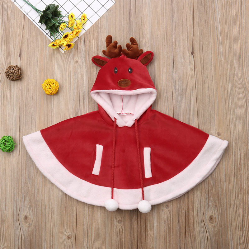 Cute Christmas Style Baby Red Cloak with Solid Elk Hood Baby Cloak for Winter and Autumn