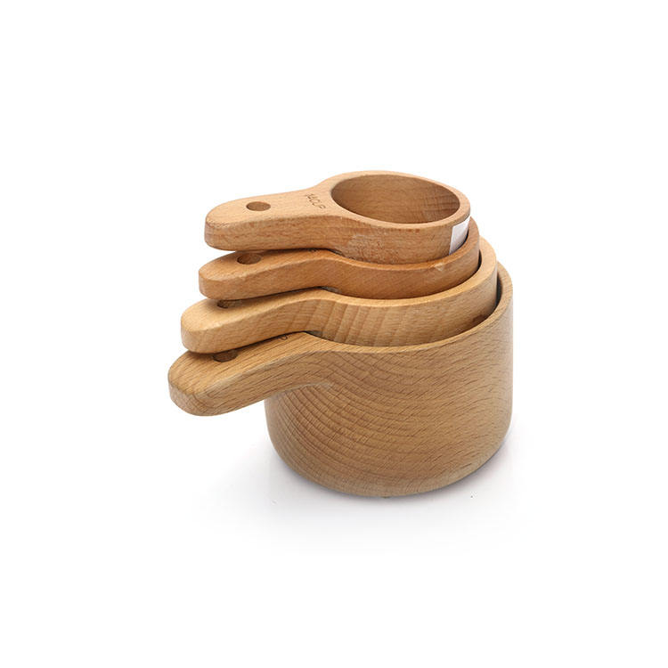 Natural Beech Wood Kitchen Tools Cake Baking Cooking Custom Nesting Measuring Cup Set
