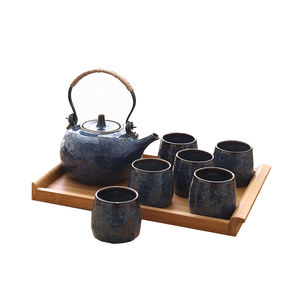 Antique Porcelain Japanese Tea Set with 6 Cups and Wooden Stand