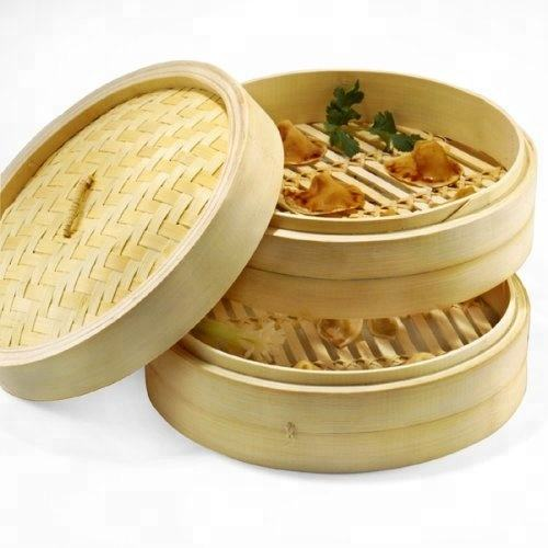 2 Tier Chinese Cooking Food Bastket Eco-friendly Natural Bamboo Steamer