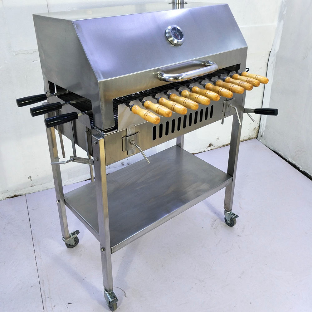 Cyprus Auto rotating skewers kebab Charcoal Barbecue Grill Rotisserie Kebob brazilian bbq grill