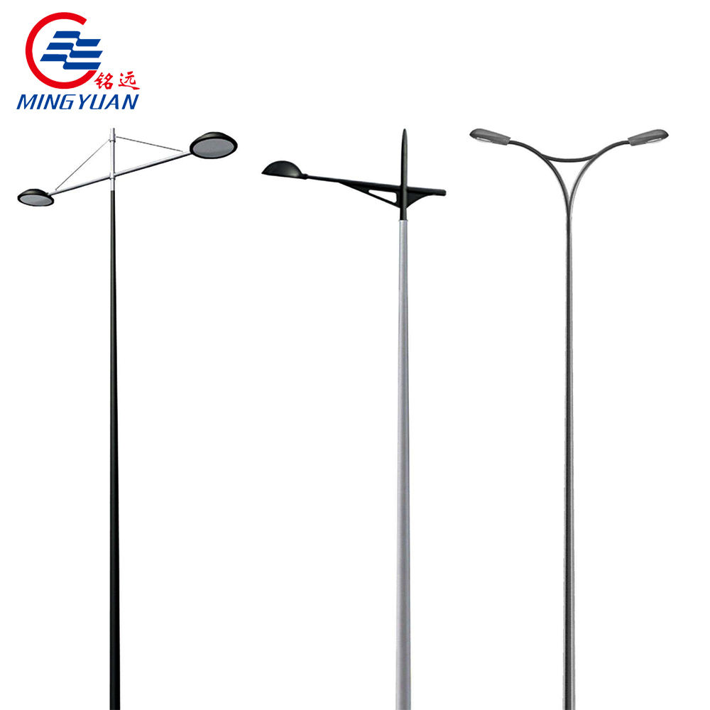 Manufactures 5m 8m 12m Q535 galvanized metal pole for lighting/ornamental lighting pole