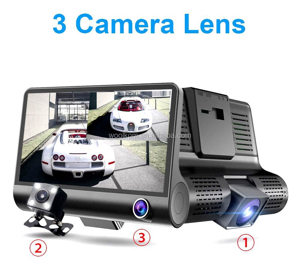 3 Lente Guida registratore 1080 P HD Auto DVR Dash Cam Video Recorder 4 ''G-sensor Registratore Camera Car Visione Notturna