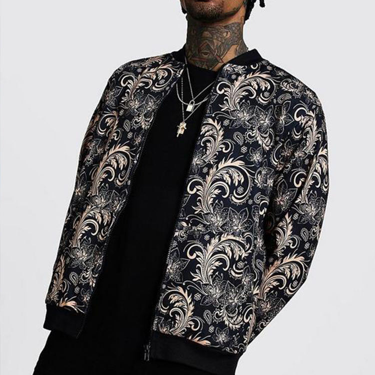 Aangepaste Logo 100% Polyester Mens Fashion Digital Print Zip Up Bomber Jassen