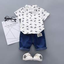 Summer Baby Boy Shirt Jeans Pants Set Crown Pattern Short Sleeve Shirt Blouse Shorts Casual Outfits Kid Boy Summer Cool Clothes