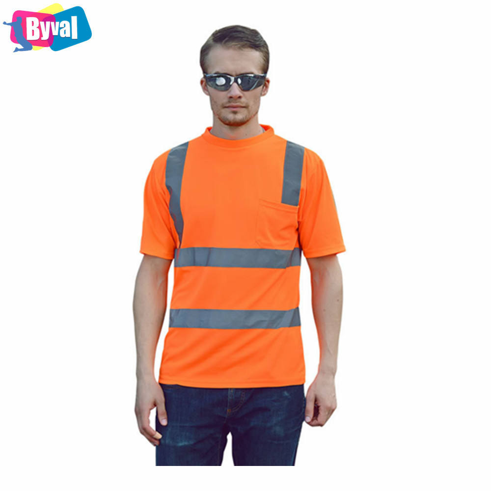 Safety T Shirt Safety Orange T-Shirt with Reflective Bands Wholesale Field Tee