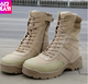 Promotion Tan combat desert army safety leather military tactical boot desert black boots