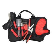 Pet Best Grooming Kit for Dogs & Cats (9) pieces Set Double Aided Brush/Pin,Comb and Nail Clipper with Stainless Steels