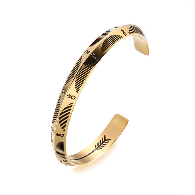Stainless steel jewelry gold cuff bangle pvd plating Etching engraved bracelet