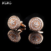 >>>Fashion Luxury Gold Color Round Crystal Cuff Links Shirt Cufflinks For Mens Wedding Gemelos Cuff Buttons Men Jewelry