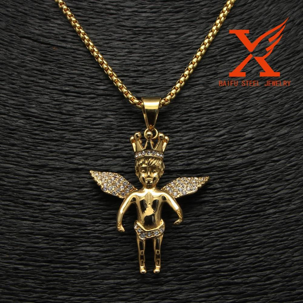 Men's Hip Hop Jewellery Stainless Steel Gold Kings Crown Angel Charm Pendants