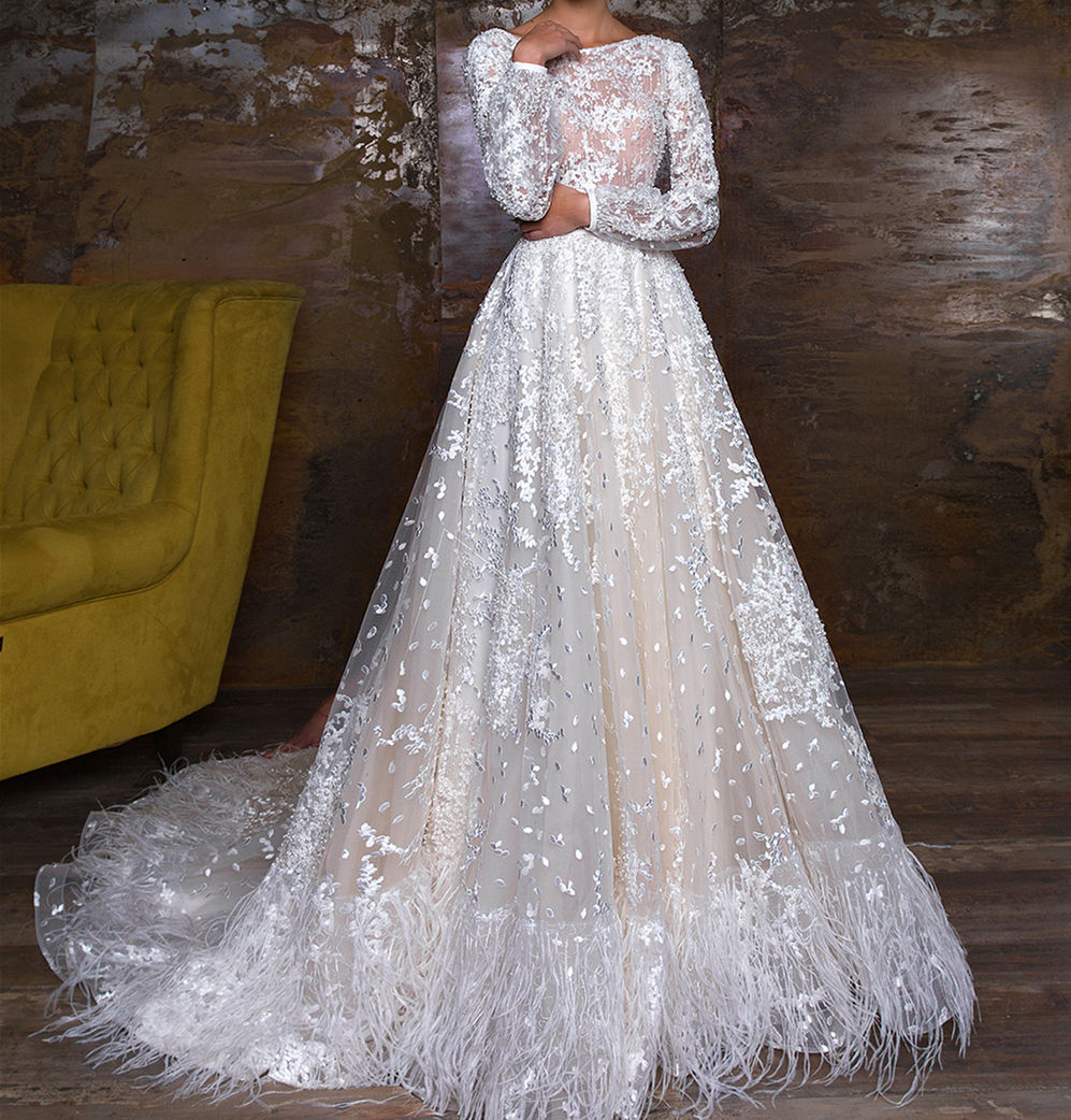 A-line Backless Luxury Applique Long Sleeve Wedding Dress for Feather Wedding Dress Bride Gown