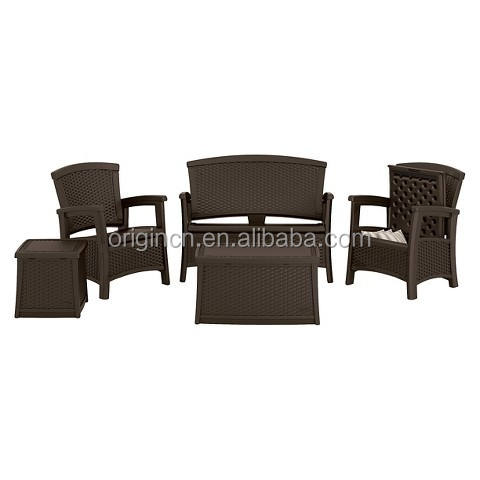 English style inflaming retarding 4 PIECE with storage box cheap lowes wicker patio furniture