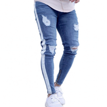 Skinny Ripped Jeans Men Hip Hop Stripe Slim Fit Denim Pants Male Pencil Bottoms Street Knee Ripped Holes Jean Mens Y10755